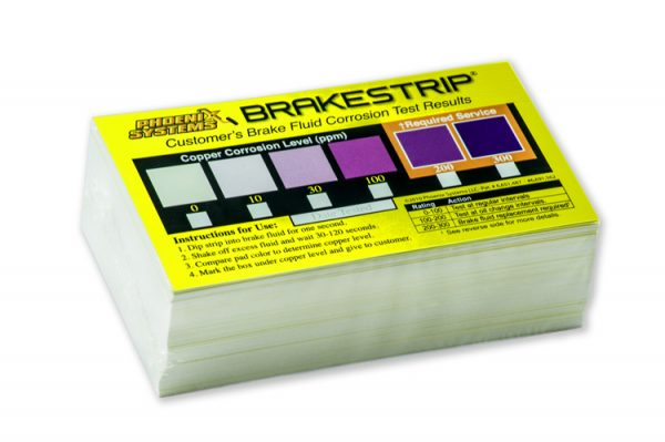 Set of BrakeStrip brake fluid test results chart