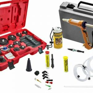 Car brake bleeding kit with master cylinder adapters, spare fittings and brake fluid testers