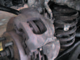 Caliper housing after having seized due to corrosion of the caliper hardware