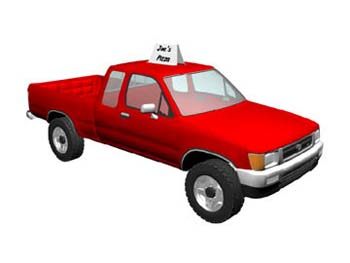 Red truck with sign on top