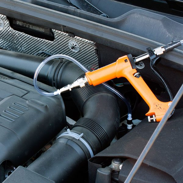 MaxProHD European car brake bleeding kit attached to master cylinder