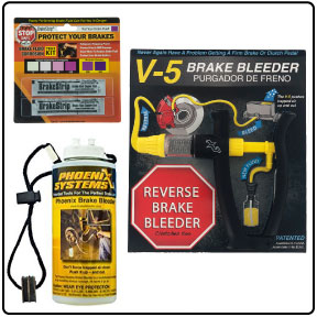Car brake bleeding kit with reverse brake bleeder, brake fluid testing strips, and fluid capture and refill bottle