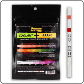 Closeup of coolant and brake fluid tester strips sold by Phoenix Systems