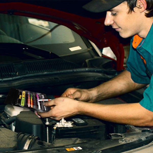 Auto mechanic uses coolant and brake fluid tester strips