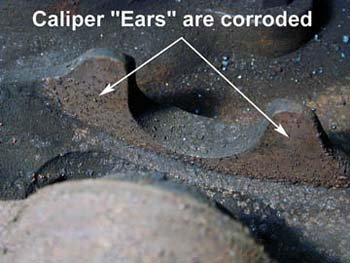 """Caliper """"ears"""" that are corroded"""