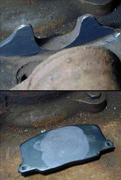 Brake pad and ears lubricated with a thin film of moly-lube