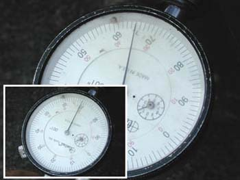 Runout reading on dial meter