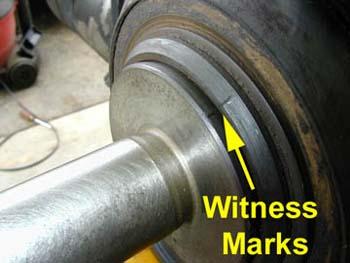 Witness marks on a brake lathe