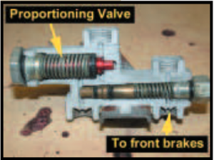 proportioning valve to front brakes