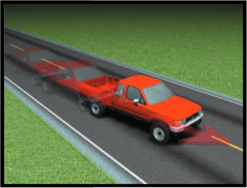 Red truck with brake pull